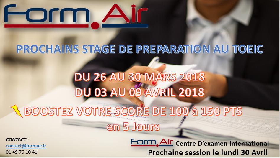 Stage préparation TOEIC session de mars et avril